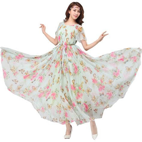 Chiffon Butterfly Sleeves Bridesmaid Holiday Beach Floral