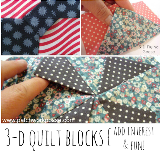 3 Dimensional quilt blocks are so fun! Switch out a few in your quilt to add interested and some finger fun for kids! Free block patterns to show you how.