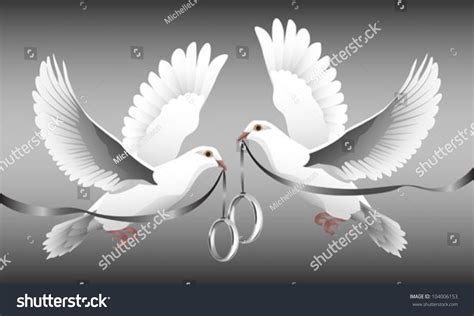 Two White Doves Flight Carrying Wedding Stock Vector