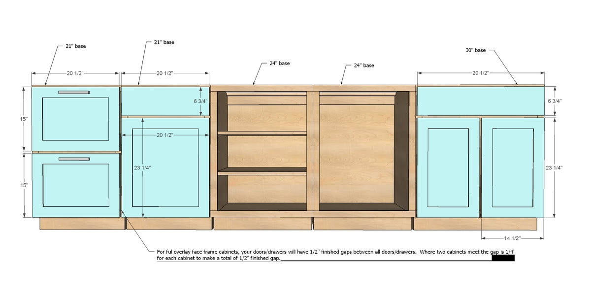 Kitchen CabiFace Frame Dimensions
