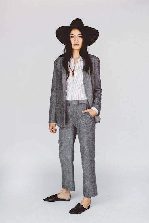 Le Fashion Blog Jenni Kayne Resort 2016 Oversized Black Hat Striped Button Down Grey Wool Suit Mule Flats Via Style Com