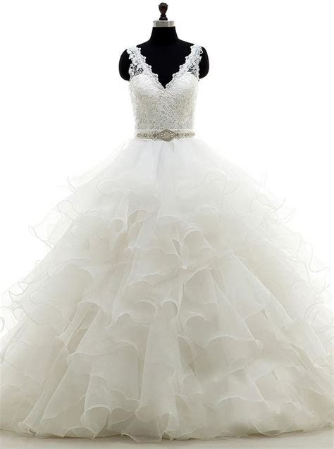 White Ball Gown,Ruffled Organza Wedding Dress,Backless