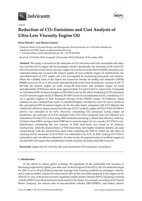 (PDF) Reduction of CO2 Emissions and Cost Analysis of