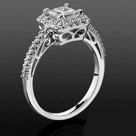 Princess Halo with Shared Pronged Round Diamonds Low