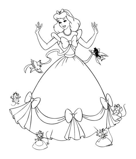 Disney Princess Cinderella With Her Gown Coloring Pages