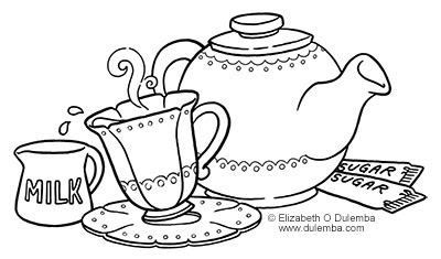 Dulemba coloring page tuesday tea for Tea party coloring page