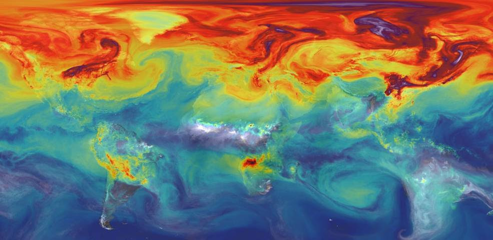 NASA simulation of carbon dioxide in the atmosphere