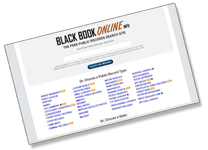 Black Book Online is a public record search site featuring over 25, current and verified links to free U.S. public records. Black Book Online provides an API that can be used to add property, criminal, civil, corporate, and sex offender record lookups to a website or application.