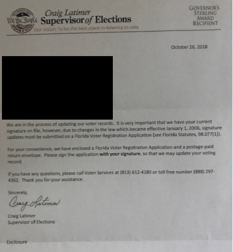 Florida Voter Registration Card / Elections Office Mailings : Declined to register or to update your voter registration record at a voter registration agency.