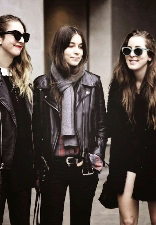 LE FASHION BLOG HAIM CALIFORNIA COOL WITH AN EDGE LEATHER MOTO JACKETS CAT EYE SUNGLASSES FUR COAT BLACK JEANS PLAID SHIRT GREY SCARF CHIC STYLISH BAND photo LEFASHIONBLOGHAIMCALIFORNIACOOLWITHANEDGE.jpg
