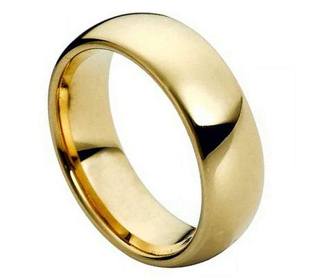 tungsten carbide  gold dome wedding engagement band