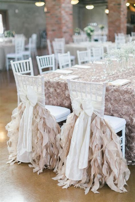 Bride and Groom Reception Chairs Ribbon Decorations