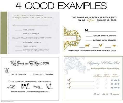 DOs & DONTs: Place Cards & Meal Choices   Response cards