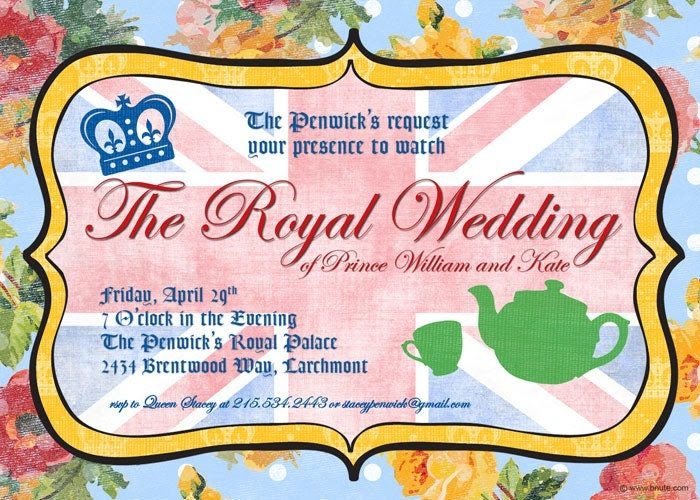 Royal British Party Invitation - Royal Wedding Watching, Tea Party, and More