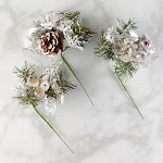 Glitzy Silver Christmas Artificial Pine Pick, 7'' long x 5'' wide, Silver/Grey Christmas Florals, Craft Supplies