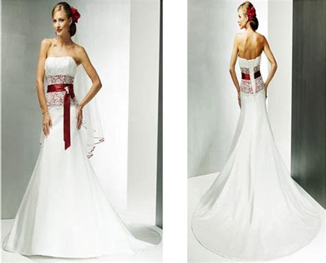 Wedding gown in white and red.