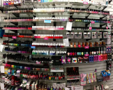 A Wall of Nail Polish. What brands do you spy?