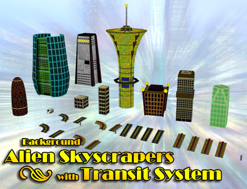 Background Alien Skyscrapers with Transit System | Cunning Force Games