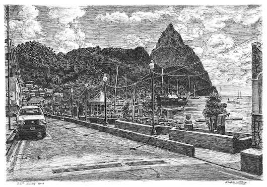 Soufriere, St Lucia - Original drawings, prints and limited editions by Stephen Wiltshire MBE