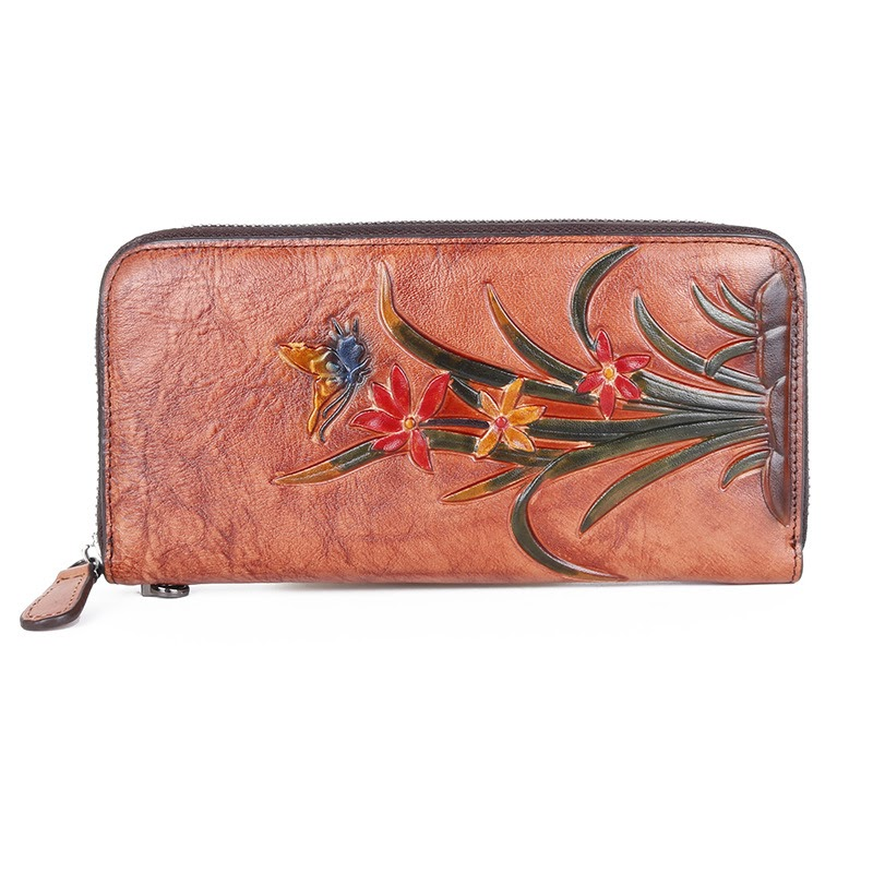 Cheap New Cow Leather Retro Multi Card Long Embossed and Colored  Women Wallets and Purses Handbag Luxury Vintage Designer Wallet