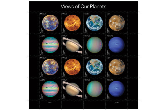 "USPS ""Views of Our Planets"" stamps depict Mercury, Venus, Earth, Mars, Jupiter, Saturn, Uranus and Neptune."
