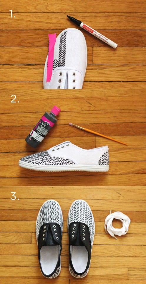 DIY Sneaker Refashion- use fabric pens/ paint to decorate shoes and to give stained/grass stained sneakers a new life