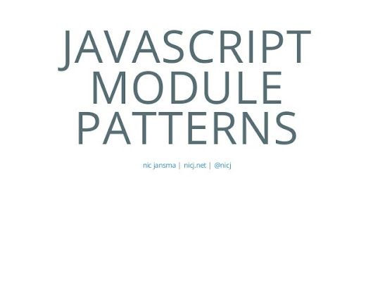 Javascript Module Patterns