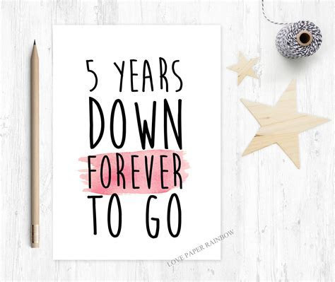 5th wedding anniversary card 5th anniversary card 5 years