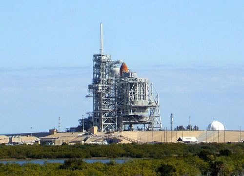 Space shuttle Discovery as seen from the LC-39 Observation Gantry, 3 miles away.