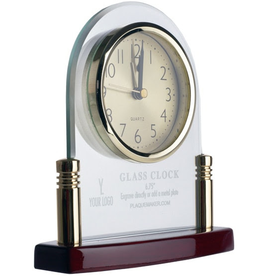Personalized Desk Clock Made Of Glass Desk Clock Engraved