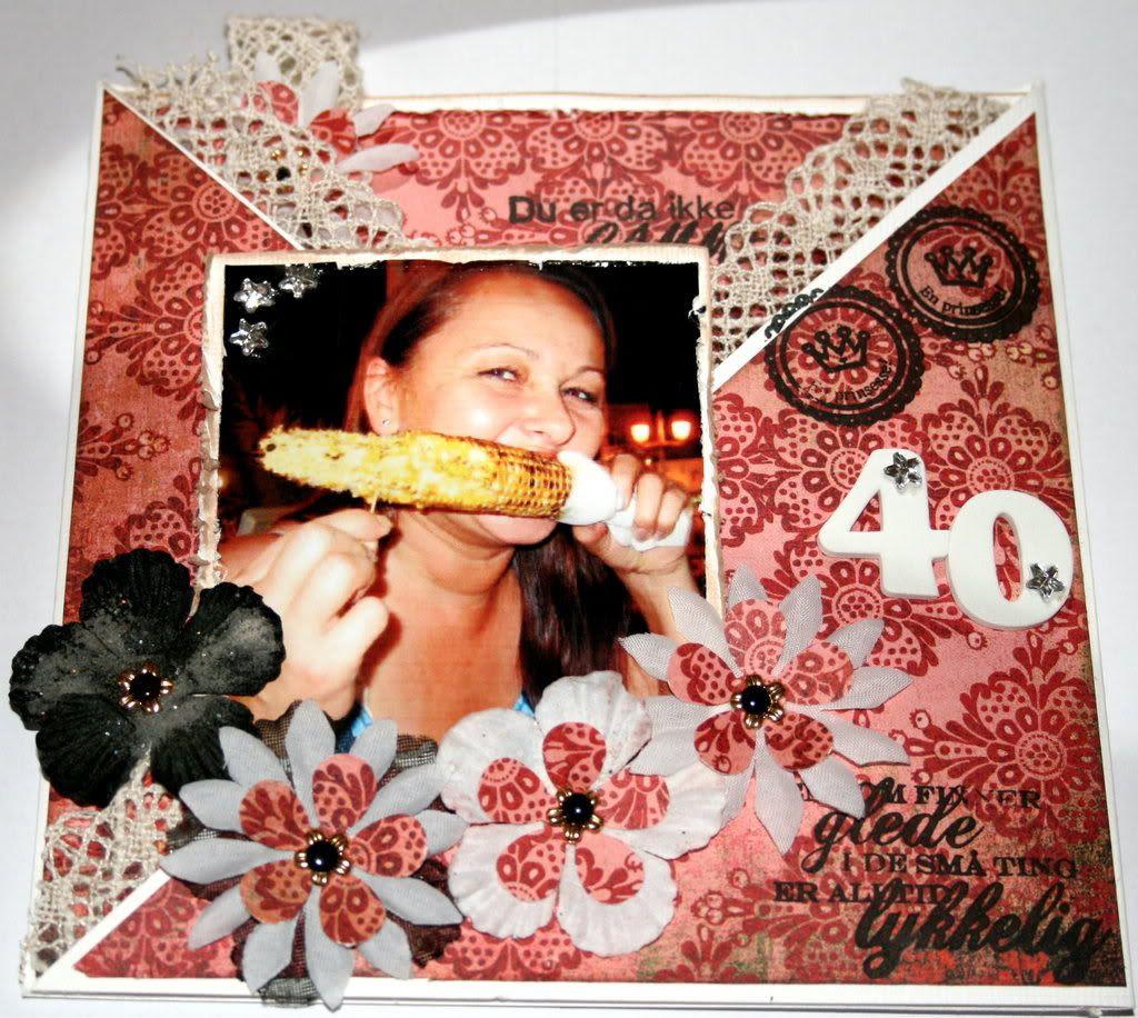 Leni Anita 40 år - forsiden av kortet