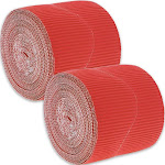 Juvale 2-Rolls Red Bulletin Board Scalloped Border Decoration for Classroom, 2 Inches x 50 Feet
