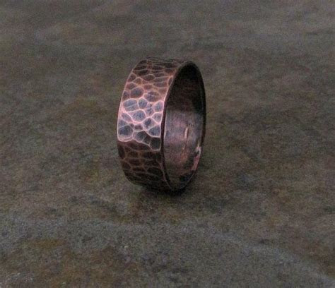 Mens Copper Ring Hammered Wedding Band Wedding Ring Rustic