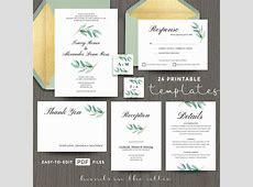 Eucalyptus Wedding Invitation Templates   Hands in the Attic