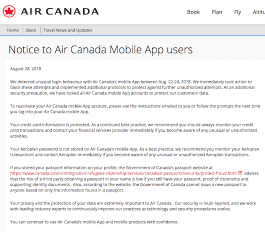 Air Canada Alerts Customers of Mobile App Breach, 20,000 Users Affected