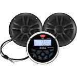 "Boss Audio MCKGB350B.6 Combo - Marine Gauge Radio w/Antenna & 2 6.5"" Speakers - Black"