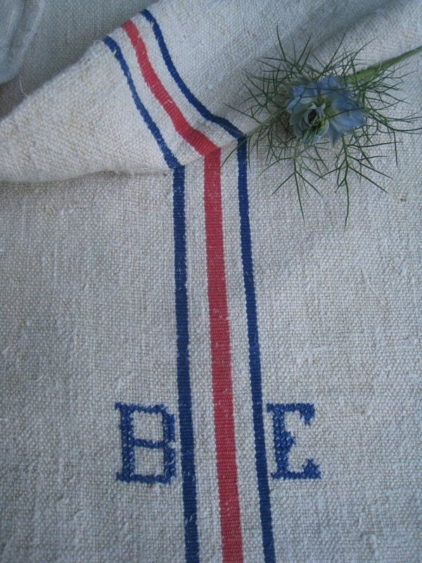 antique grain sack cushion tablerunner upholstery BLUE faded RED wedding decor