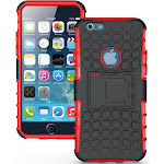 """NAKEDCELLPHONE RED GRENADE GRIP RUGGED TPU SKIN HARD CASE COVER STAND FOR APPLE iPHONE 6 4.7"""""""