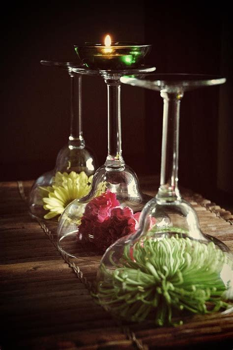 Upside down #martini glass #centerpiece   Centerpieces