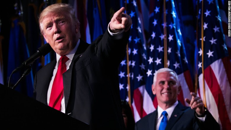 "President-elect Donald Trump delivers his acceptance speech at his election night event in New York City on Wednesday, November 9. ""Every single American will have the opportunity to realize his or her fullest potential,"" the Republican said. ""The forgotten men and women of our country will be forgotten no longer."""