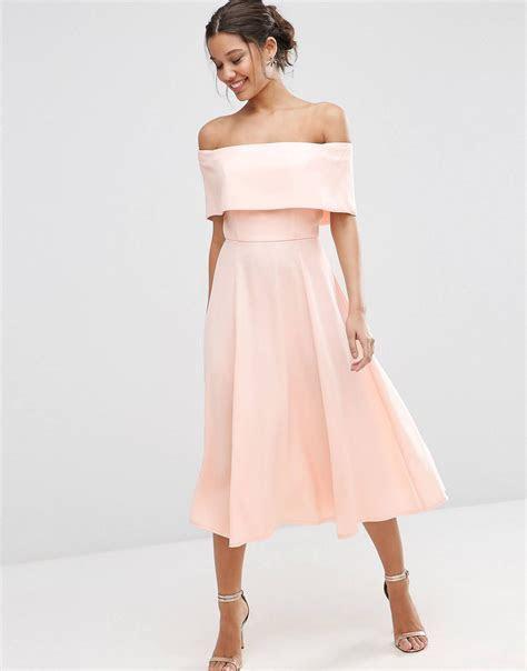 Soft Off The Shoulder Bardot Midi Prom Dress   Fashion