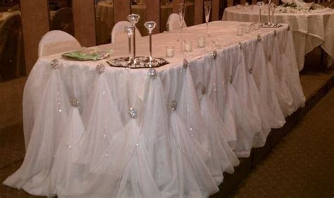 8 ft. Rhinestone Cinderella Head Table Skirting