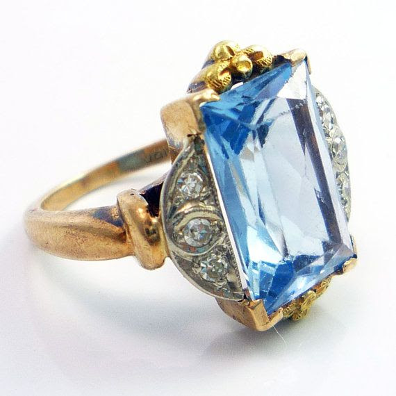 Art Deco blue zircon and diamond ring. I hope Cinderella wore one like this to the ball with that dress.