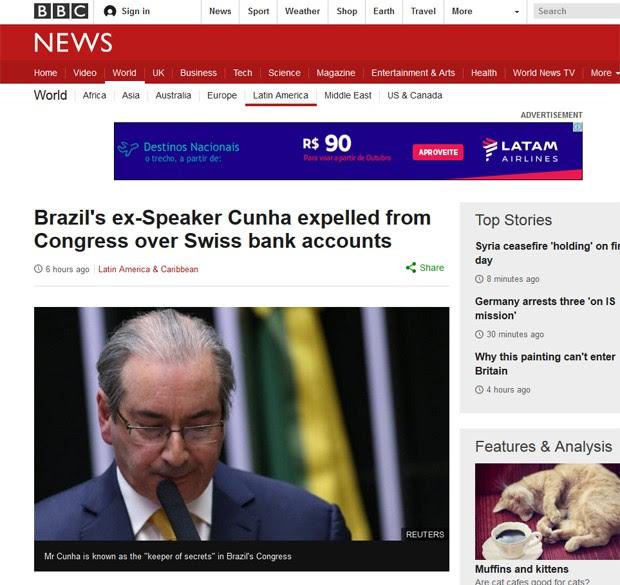 BBC destacou que Eduardo Cunha perdeu seu mandato depois de uma votação esmagadora (Foto: Reprodução/BBC)