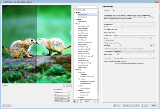 Testing : Qt-based version of the G'MIC plug-in for GIMP - G'MIC -