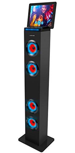 Sharper Image Sbt1001bk Bluetooth Tower Speaker With Lights Fm