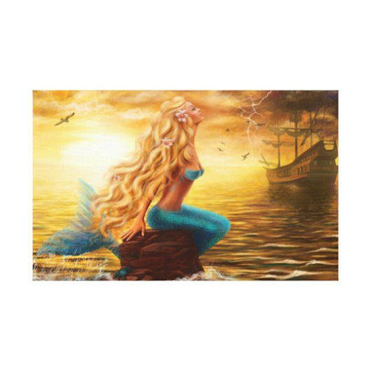 Canvas Print Fantasy mermaid at sunset