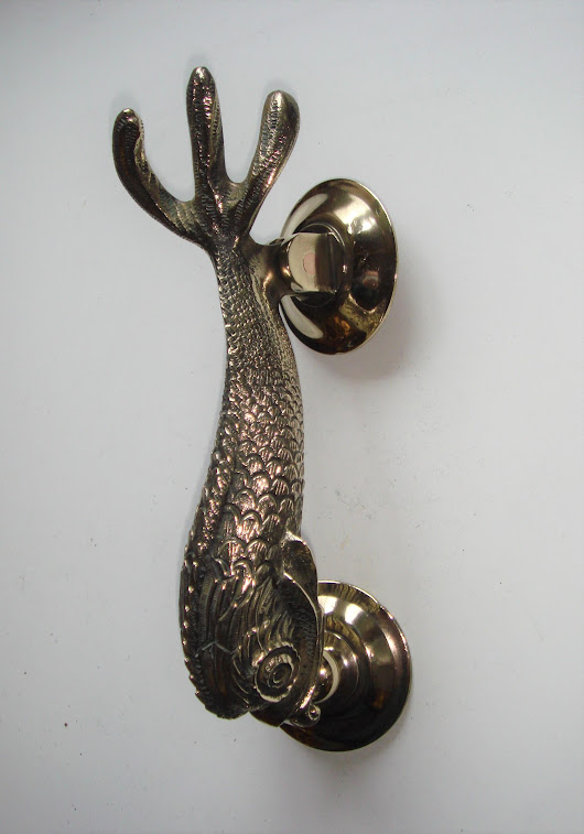 Vintage Brass Dolphin Door Knocker Complete with Striking Plate