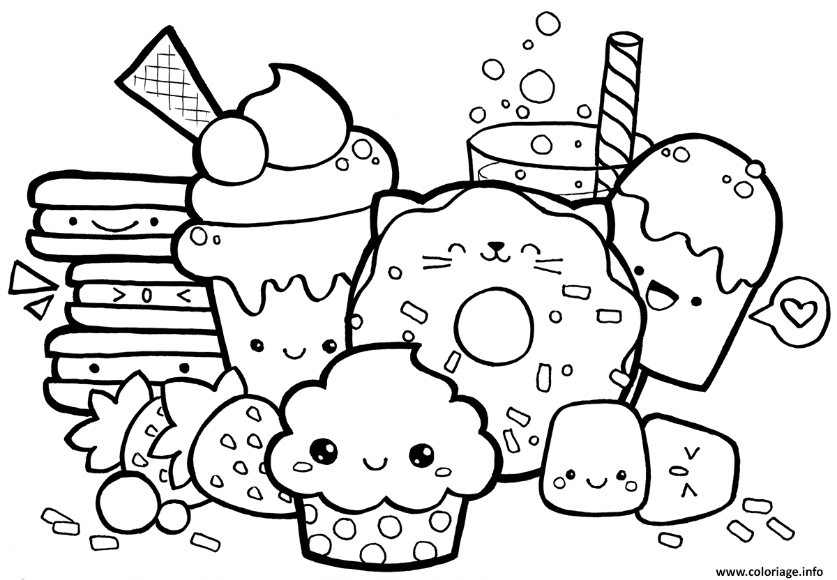 Coloriage Kawaii Food Jecoloriecom