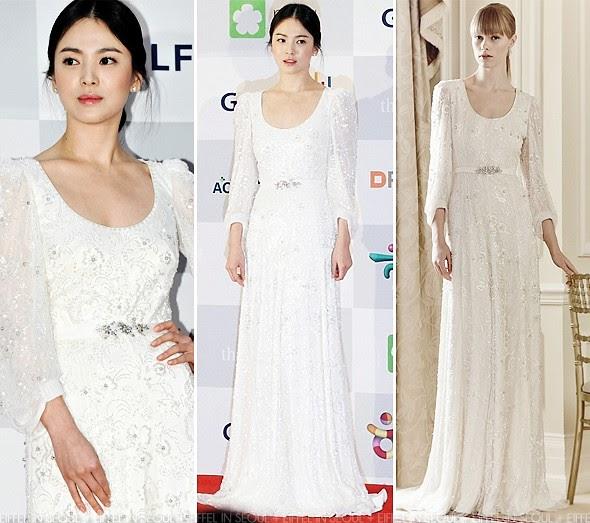 Wedding Korean Star: Eiffel In Seoul: Song Hye Kyo Wears Jenny Packham To 2013